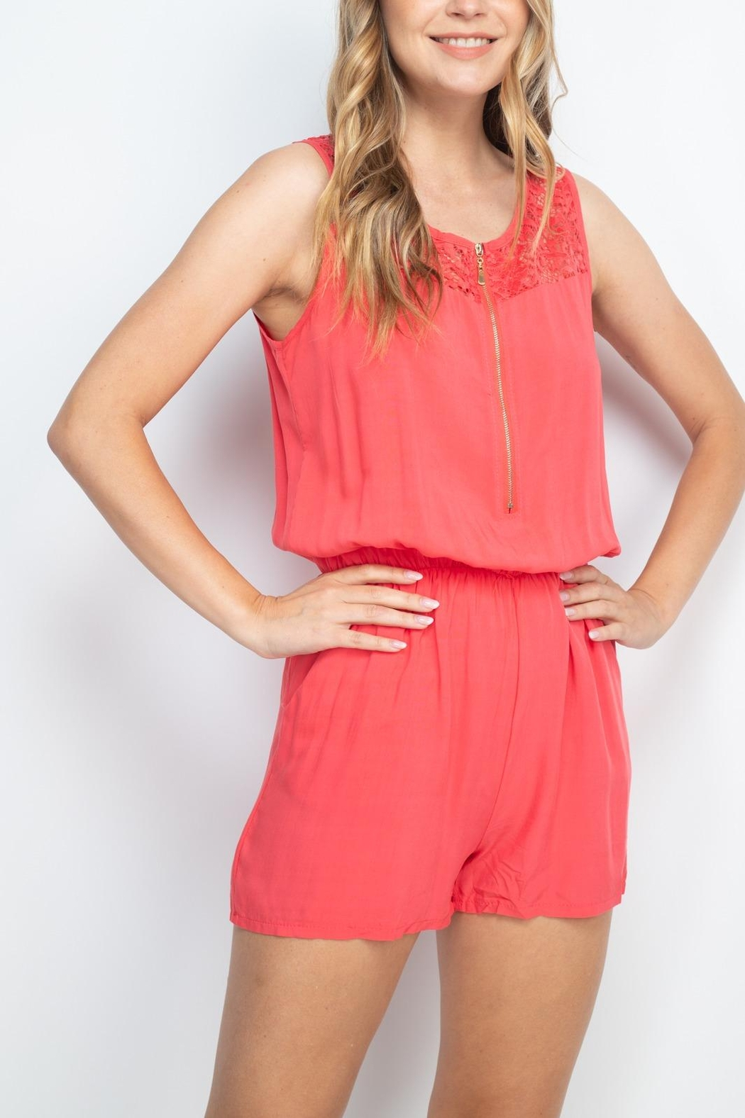 Riah Fashion Coral Romper - Back Cropped Image