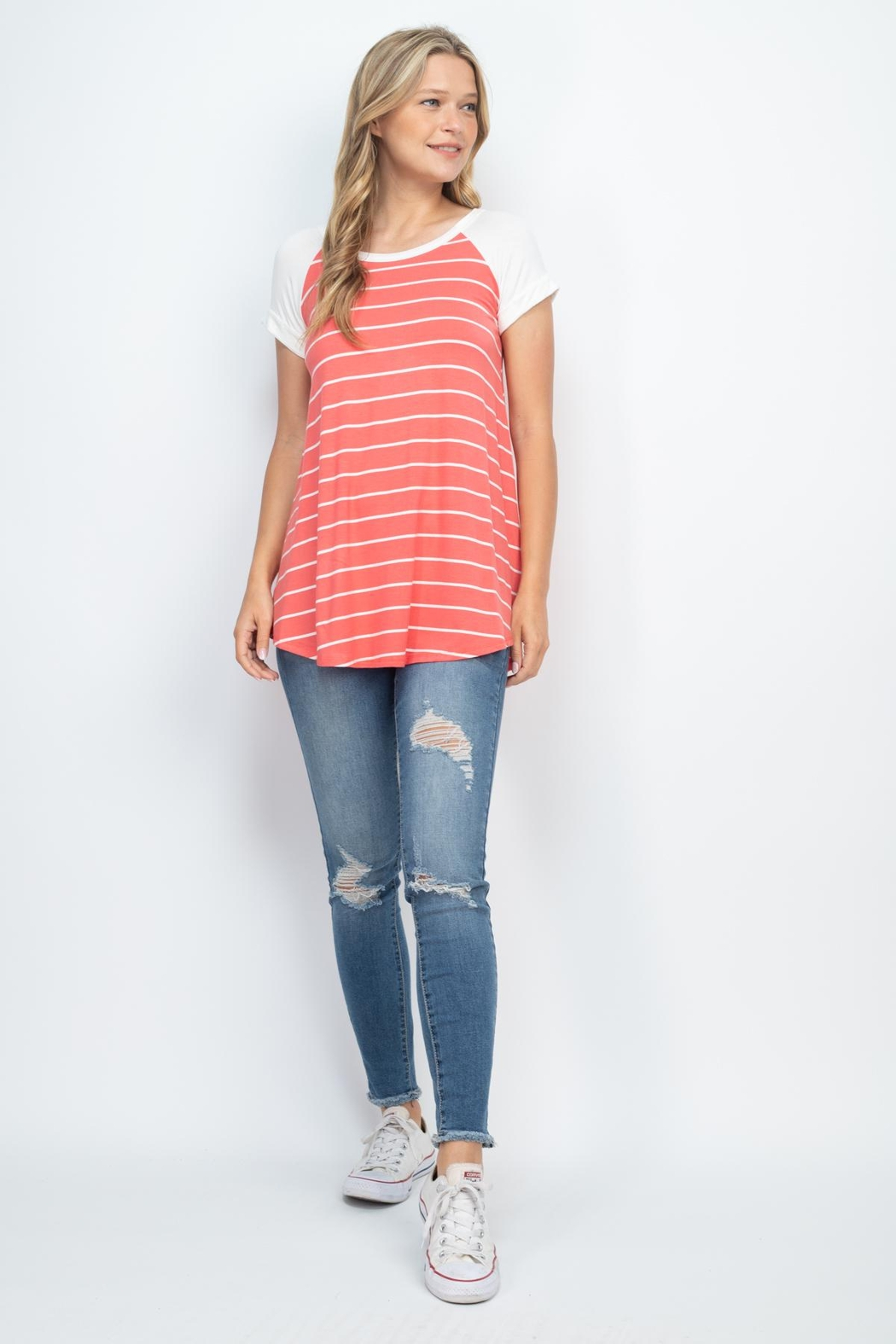 Riah Fashion Coral Stripes Top - Side Cropped Image
