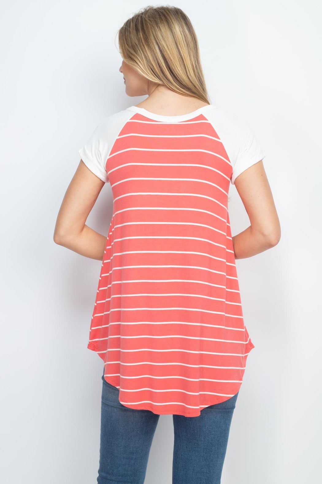 Riah Fashion Coral Stripes Top - Front Full Image