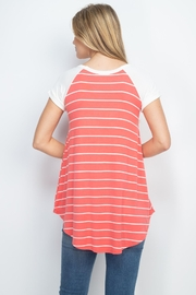 Riah Fashion Coral Stripes Top - Front full body