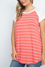 Riah Fashion Coral Stripes Top - Other