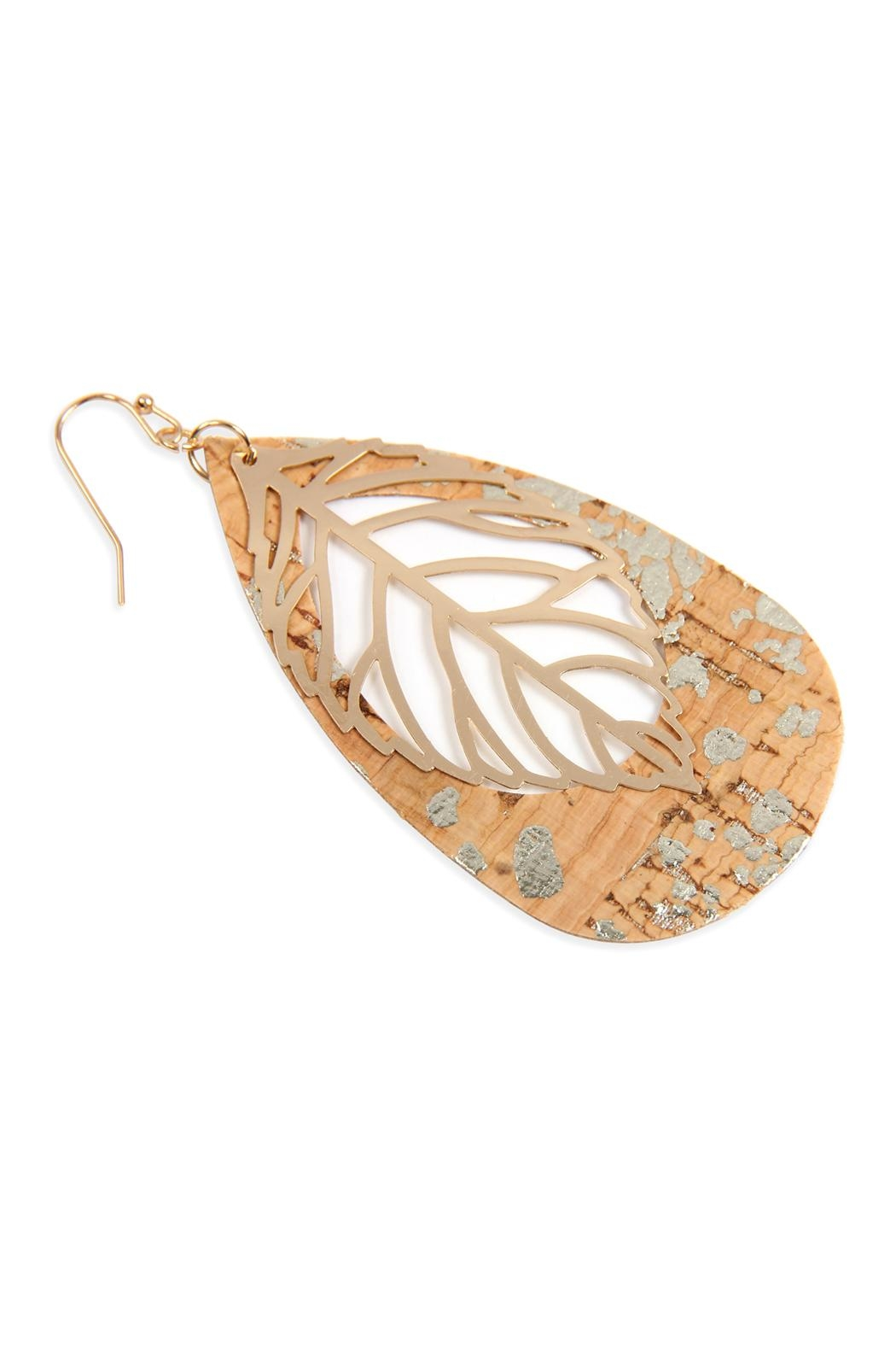 Riah Fashion Cork Pattern Teardrop-With-Metal Leaf-Filigree-Earring - Front Full Image