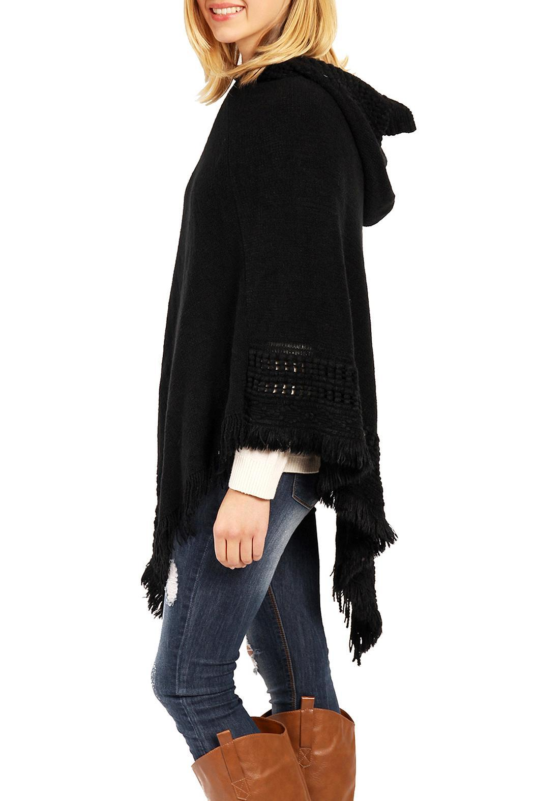 Riah Fashion Cozy Hood Poncho - Front Full Image