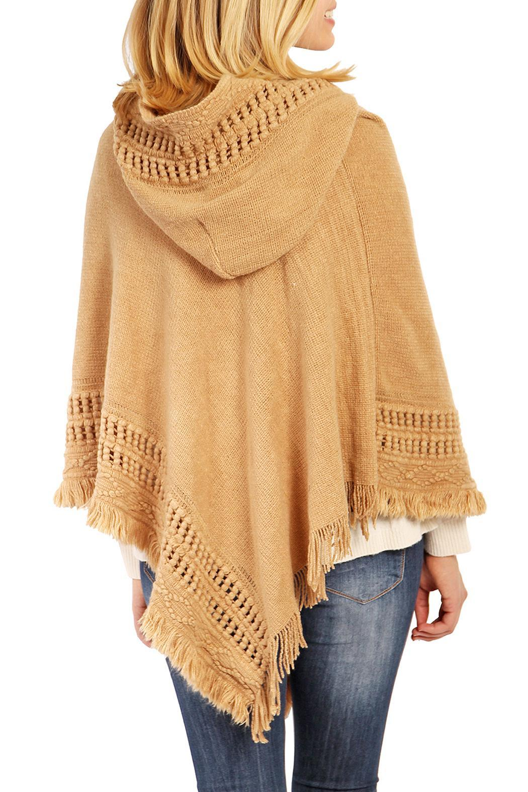 Riah Fashion Cozy Hood Poncho - Side Cropped Image