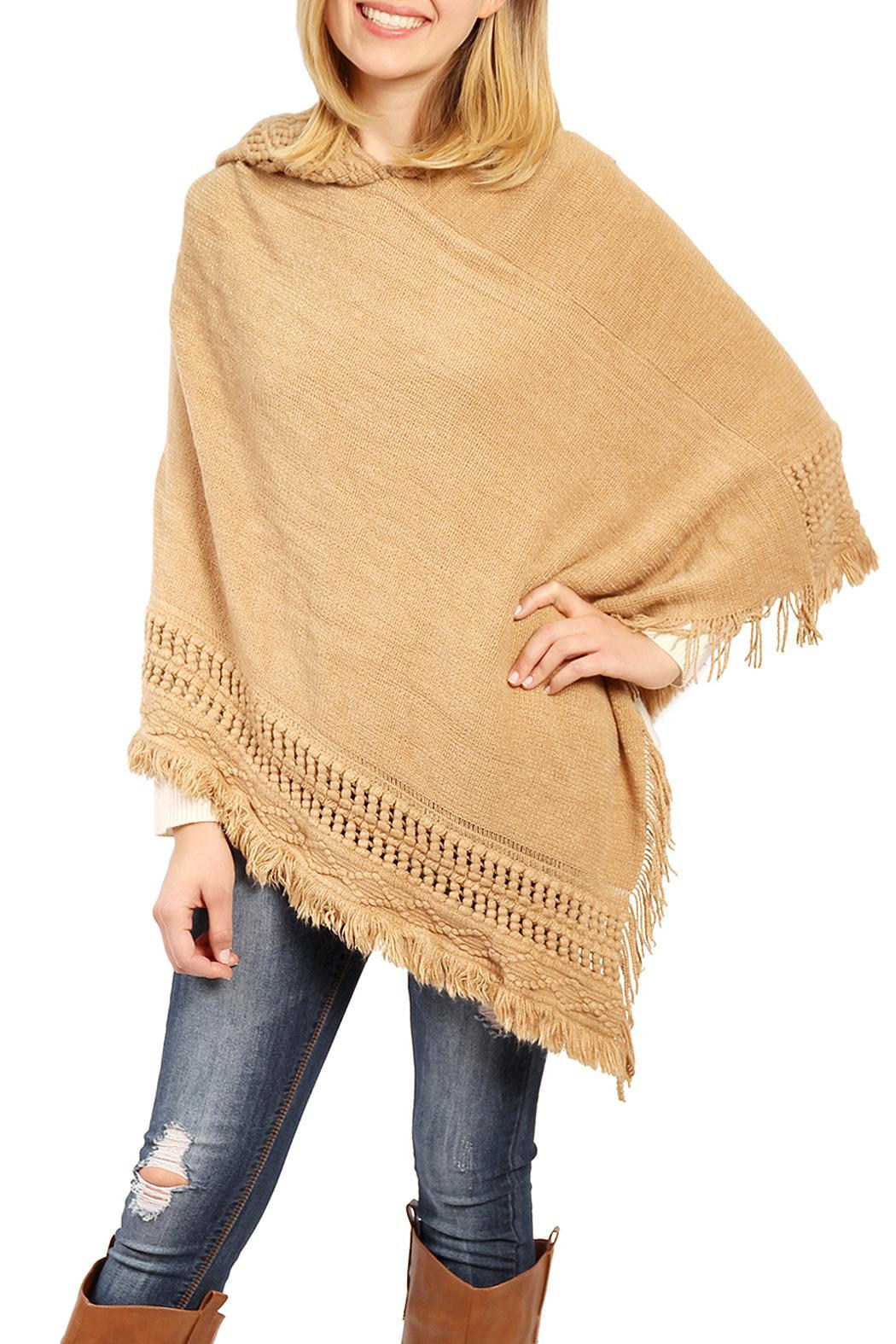 Riah Fashion Cozy Hood Poncho - Front Cropped Image