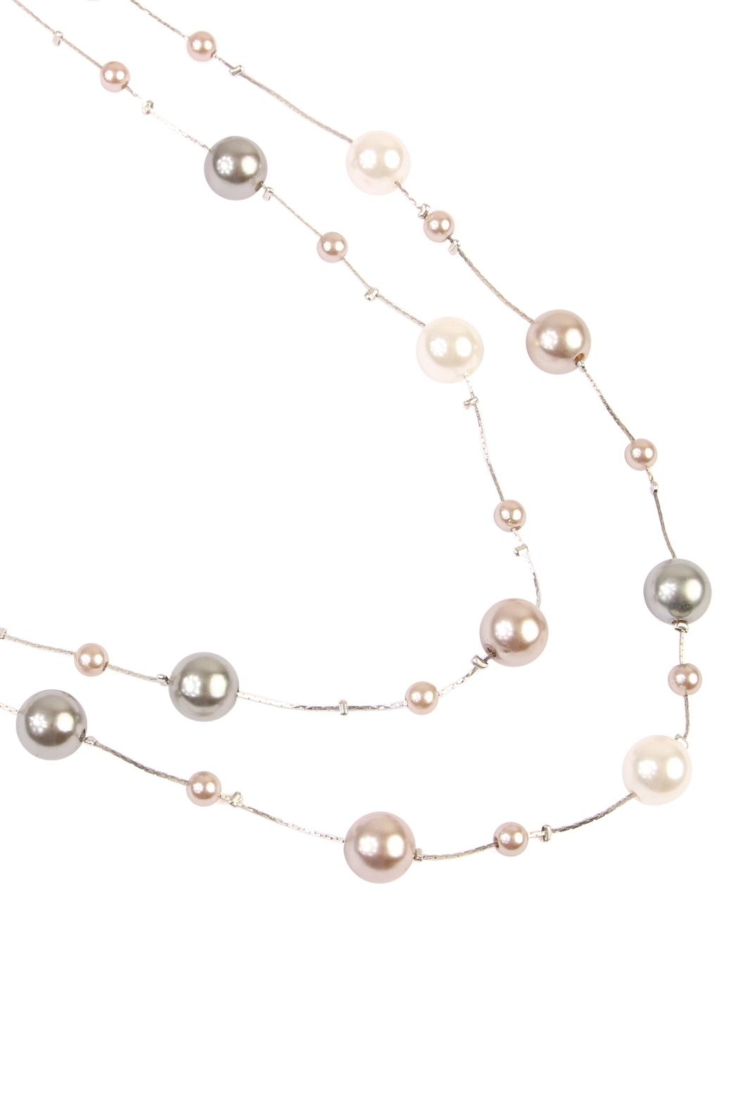 Riah Fashion Cream Multi Pearl Necklace - Front Full Image