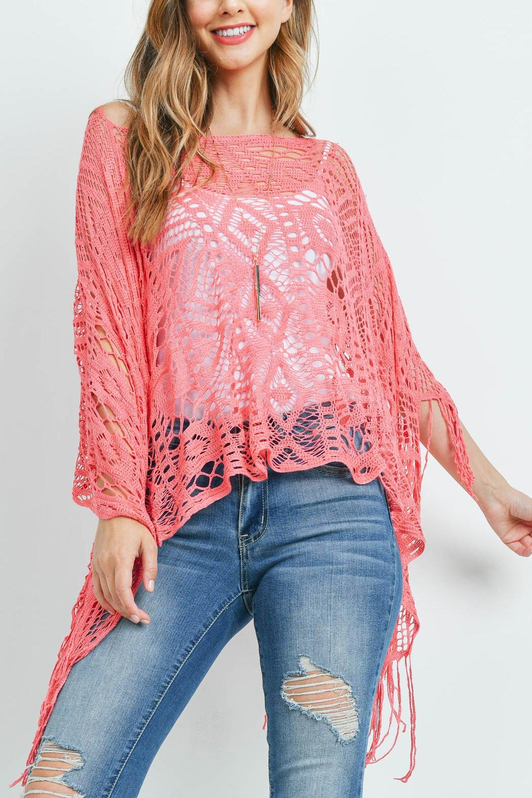 Riah Fashion Crochet Poncho Top - Front Cropped Image