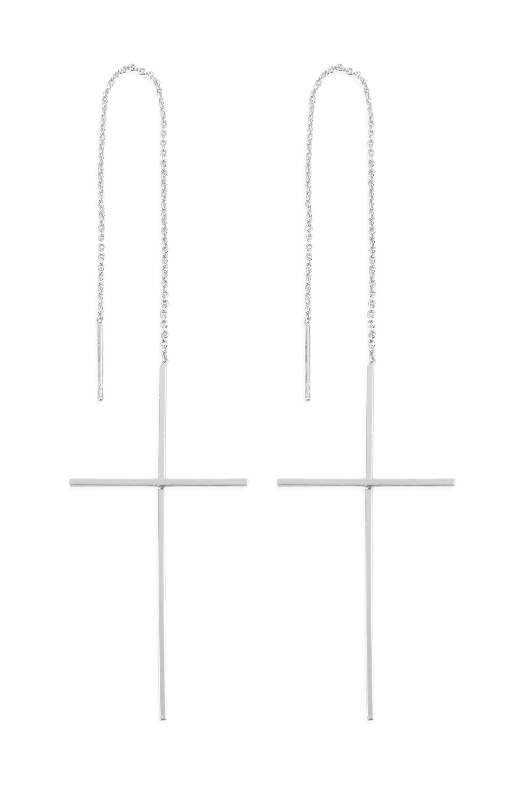 Riah Fashion Cross Chain Dangle Post Earrings - Front Cropped Image