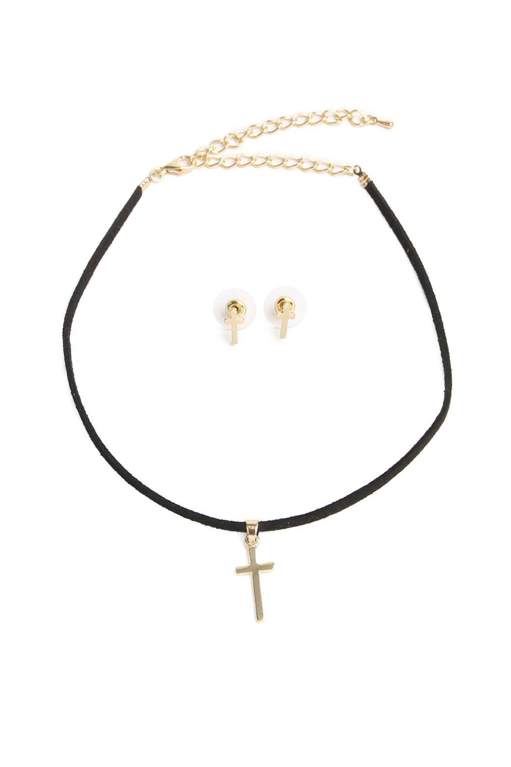 Riah Fashion Cross Choker Set - Main Image