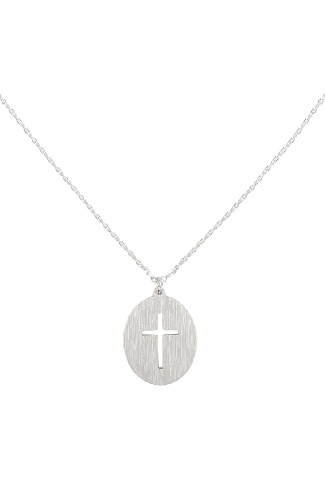 Riah Fashion Cross-Cutout-Oval-Brass-Pendant-Necklace - Front Cropped Image