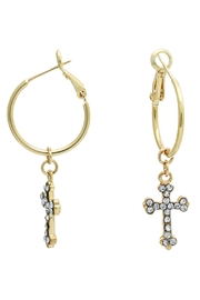 Riah Fashion Cross Hoop Earrings - Product Mini Image