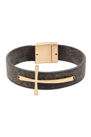 Riah Fashion Cross-Magnetic-Leather-Bracelet - Front cropped