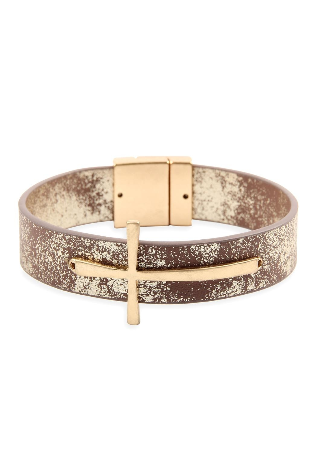 Riah Fashion Cross-Magnetic-Leather-Bracelet - Front Cropped Image