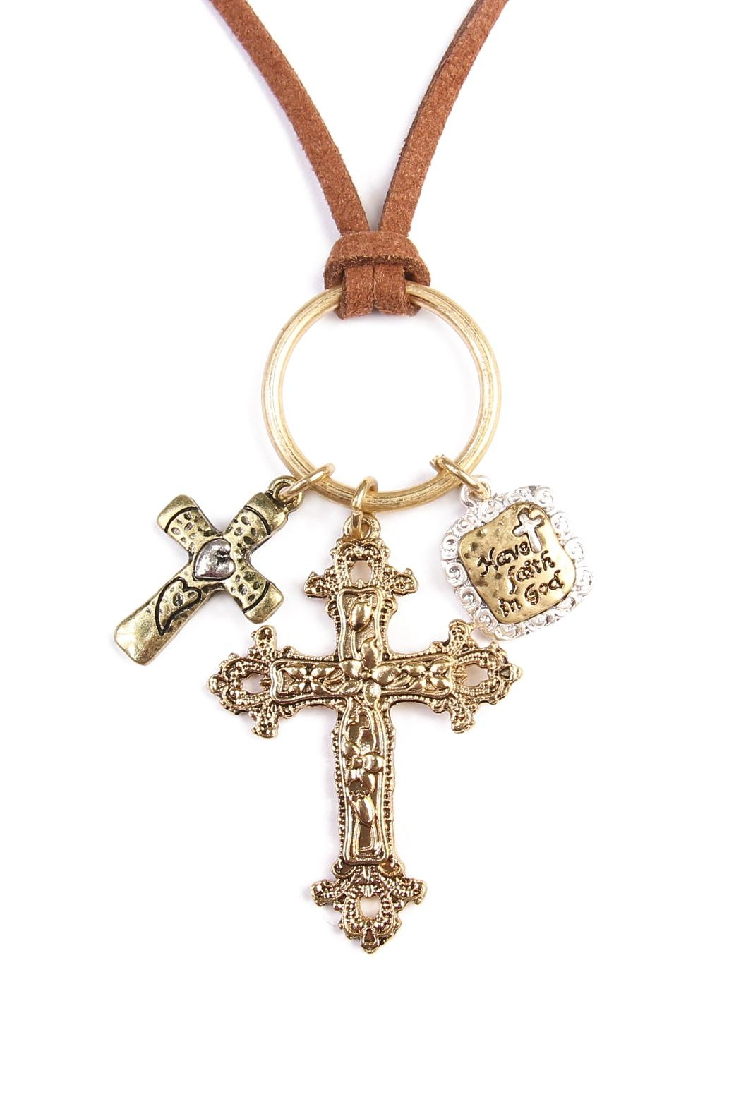 Riah Fashion Cross Pendants  Necklace - Front Full Image
