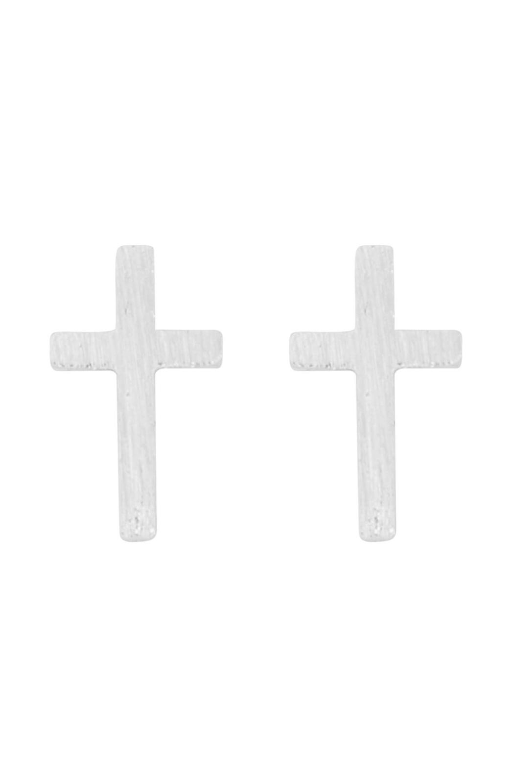 Riah Fashion Cross-Rough-Finish-Post-Earrings - Front Cropped Image