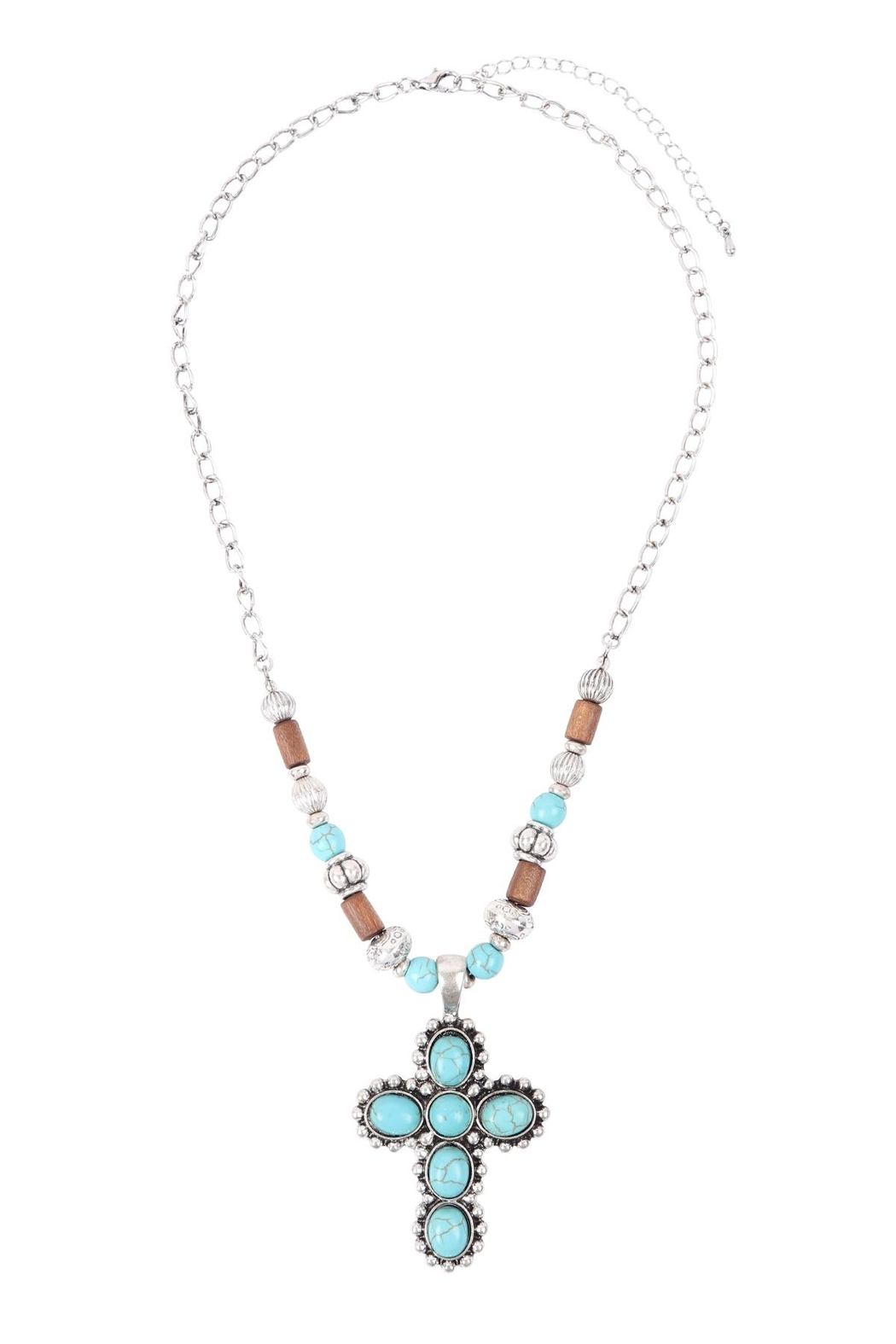 Riah Fashion Cross Shape Natural Stone Turquoise Necklace - Main Image