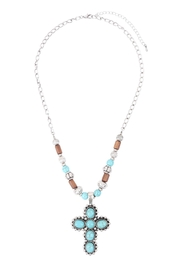 Riah Fashion Cross Shape Natural Stone Turquoise Necklace - Front cropped