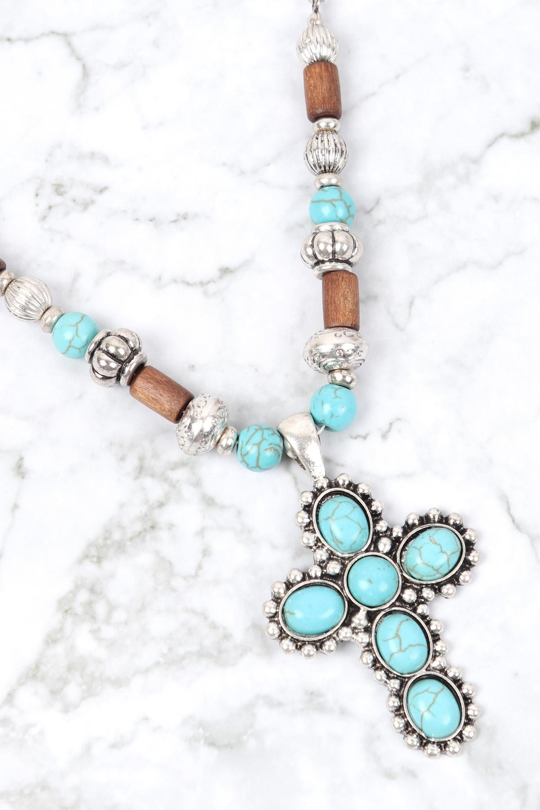 Riah Fashion Cross Shape Natural Stone Turquoise Necklace - Front Full Image