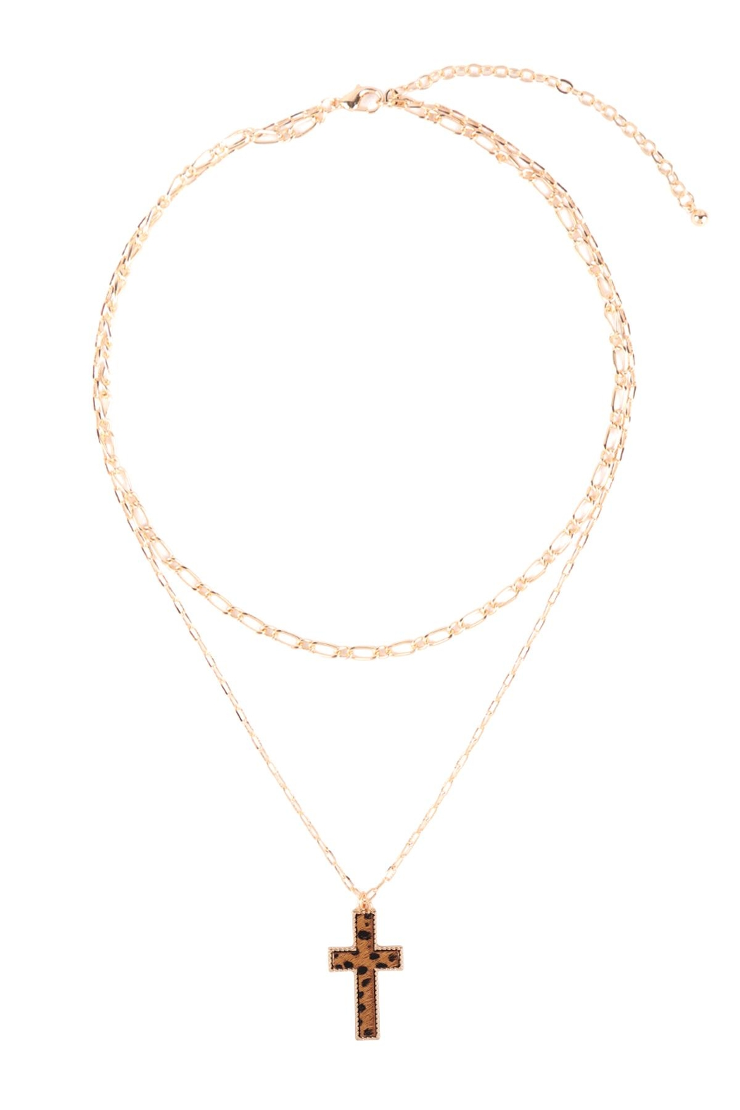 Riah Fashion Cross-Shape-Real-Calf-Hair-Leather-Layered-Necklace - Front Full Image