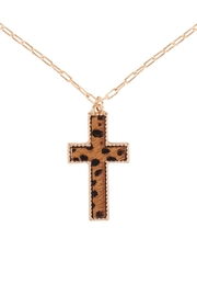 Riah Fashion Cross-Shape-Real-Calf-Hair-Leather-Layered-Necklace - Front cropped