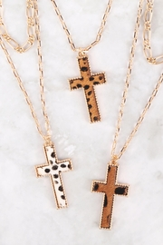 Riah Fashion Cross-Shape-Real-Calf-Hair-Leather-Layered-Necklace - Side cropped