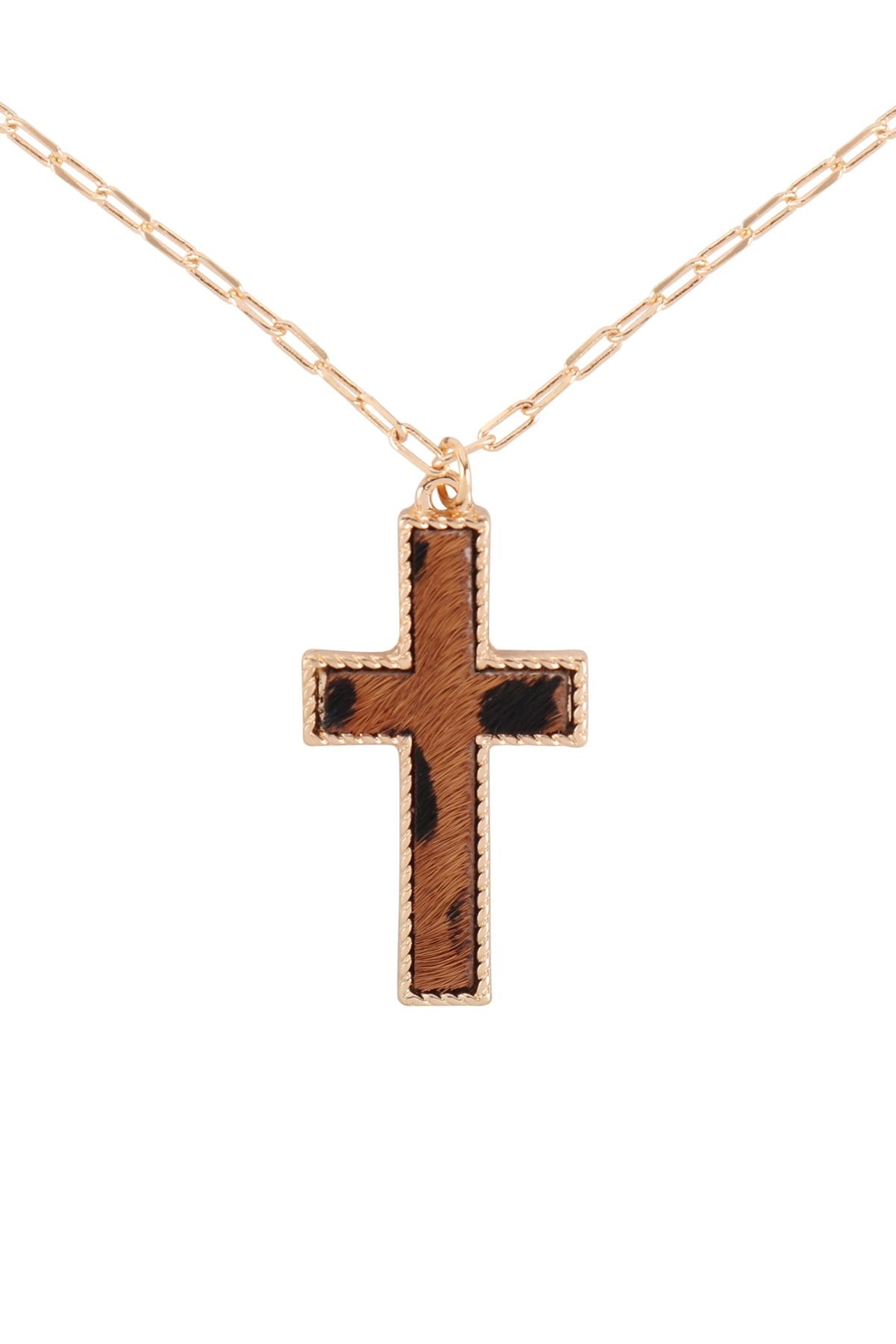 Riah Fashion Cross-Shape-Real-Calf-Hair-Leather-Layered-Necklace - Front Cropped Image