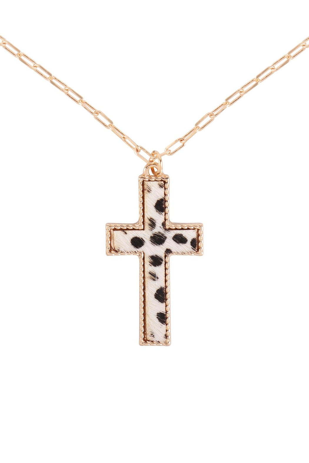 Riah Fashion Cross-Shape-Real-Calf-Hair-Leather-Layered-Necklace - Main Image