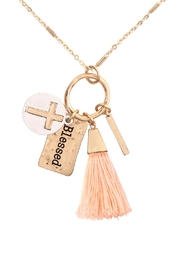 Riah Fashion Cross Tassel Cluster Charm Necklace Earring Set - Front cropped