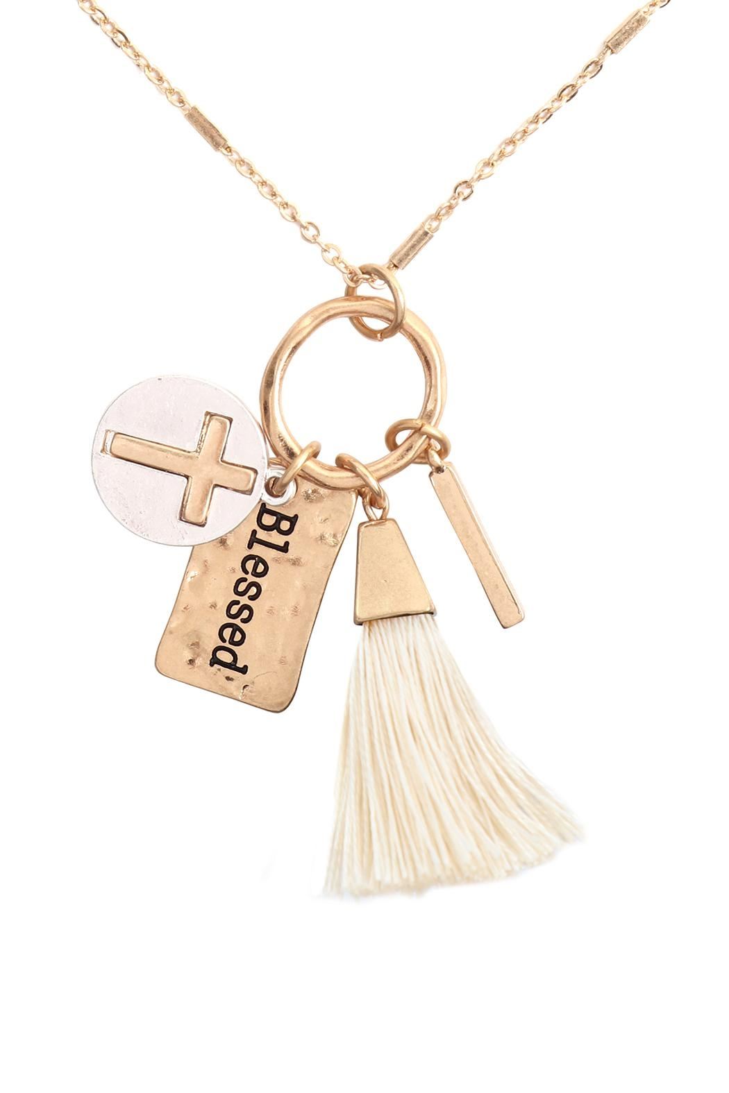 Riah Fashion Cross Tassel Cluster Charm Necklace Earring Set - Front Cropped Image