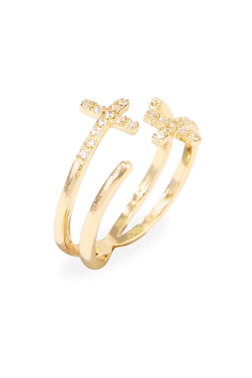 Riah Fashion Cross Wrap Ring - Front Full Image