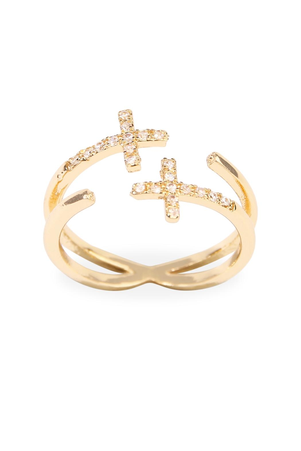 Riah Fashion Cross Wrap Ring - Front Cropped Image