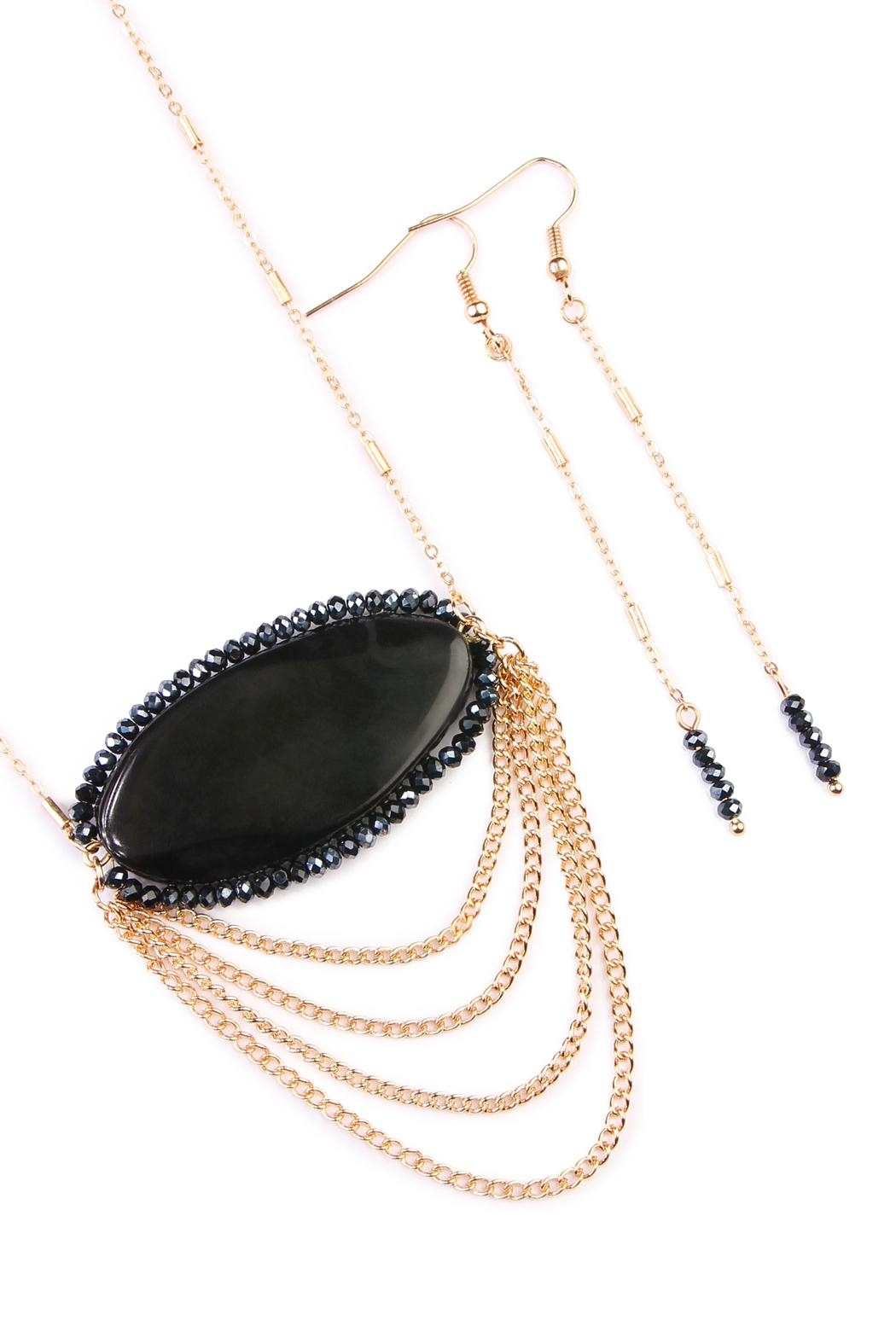 Riah Fashion Black Stone Accessory Set - Front Full Image