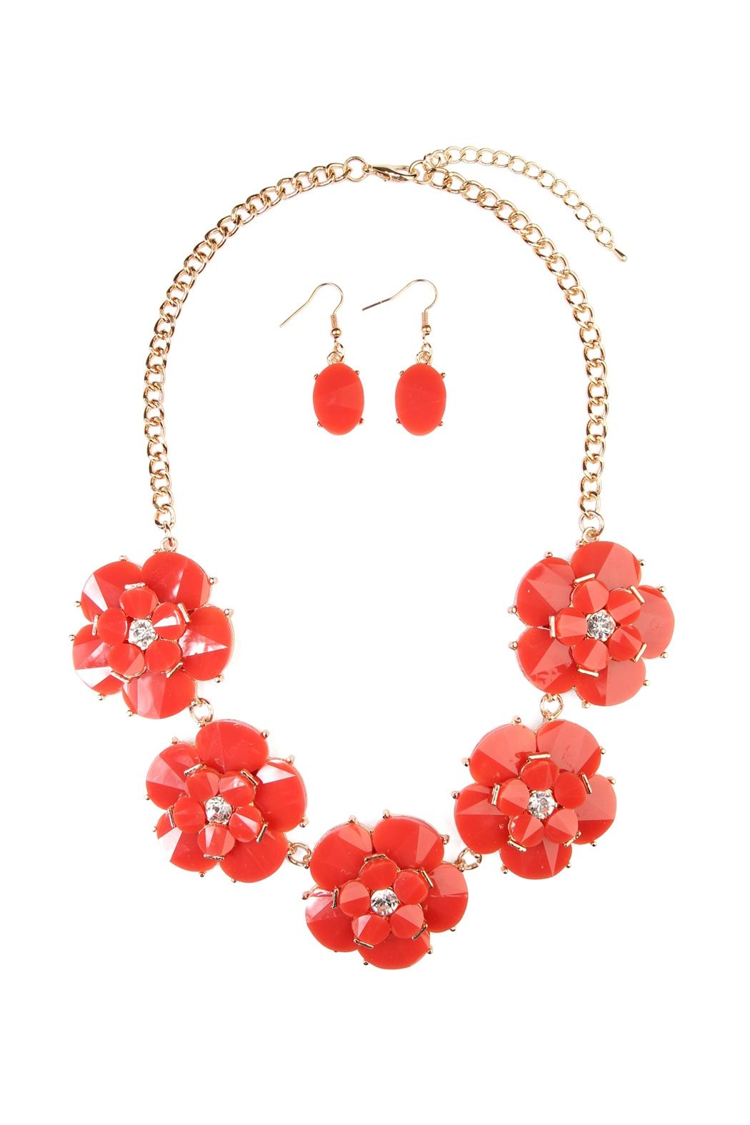 Riah Fashion Crystal Necklace Set - Front Cropped Image