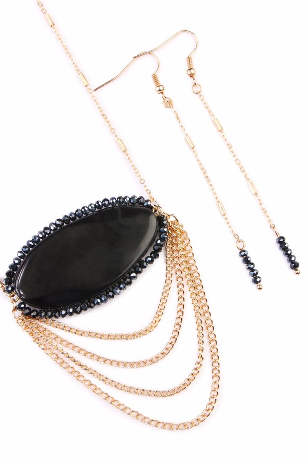 Riah Fashion Crystal Gemstone Necklace - Front Full Image