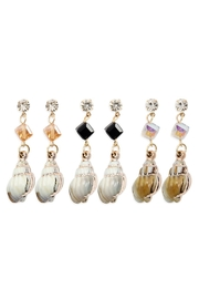 Riah Fashion Crystal With Shell Drop Assorted Earring /12pcs - Product Mini Image