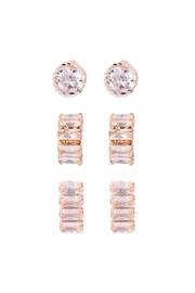Riah Fashion Cubic Zirconia-3-Pair-Set-Round-And-Square-Crystal-Earrings - Product Mini Image