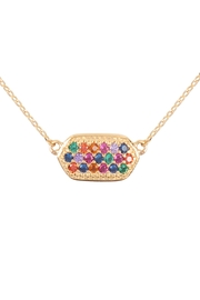 Riah Fashion Cubic-Zirconia-Oval-Necklace - Product Mini Image