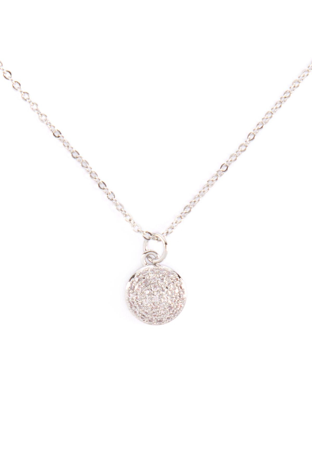 Riah Fashion Cubic-Zirconia-Pave-Round-Disk-Necklace - Main Image