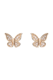 Riah Fashion Cubic-Zirconia-Pave-Tiny-Butterfly-Stud-Earrings - Product Mini Image