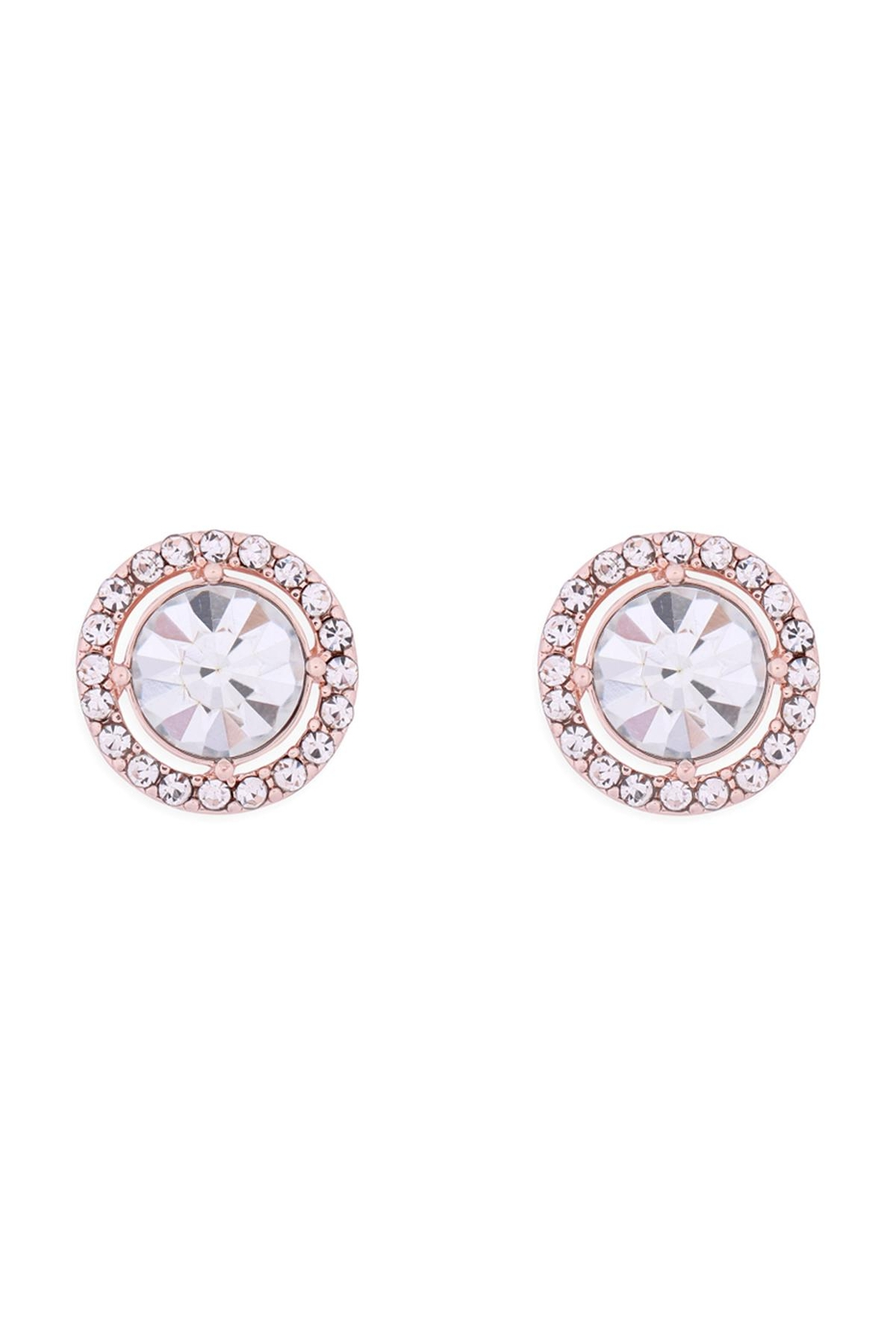 Riah Fashion Cubic-Zirconia-Round-Halo-Stud-Earrings - Front Cropped Image