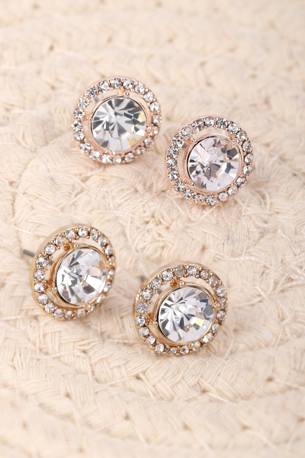 Riah Fashion Cubic-Zirconia-Round-Halo-Stud-Earrings - Front Full Image