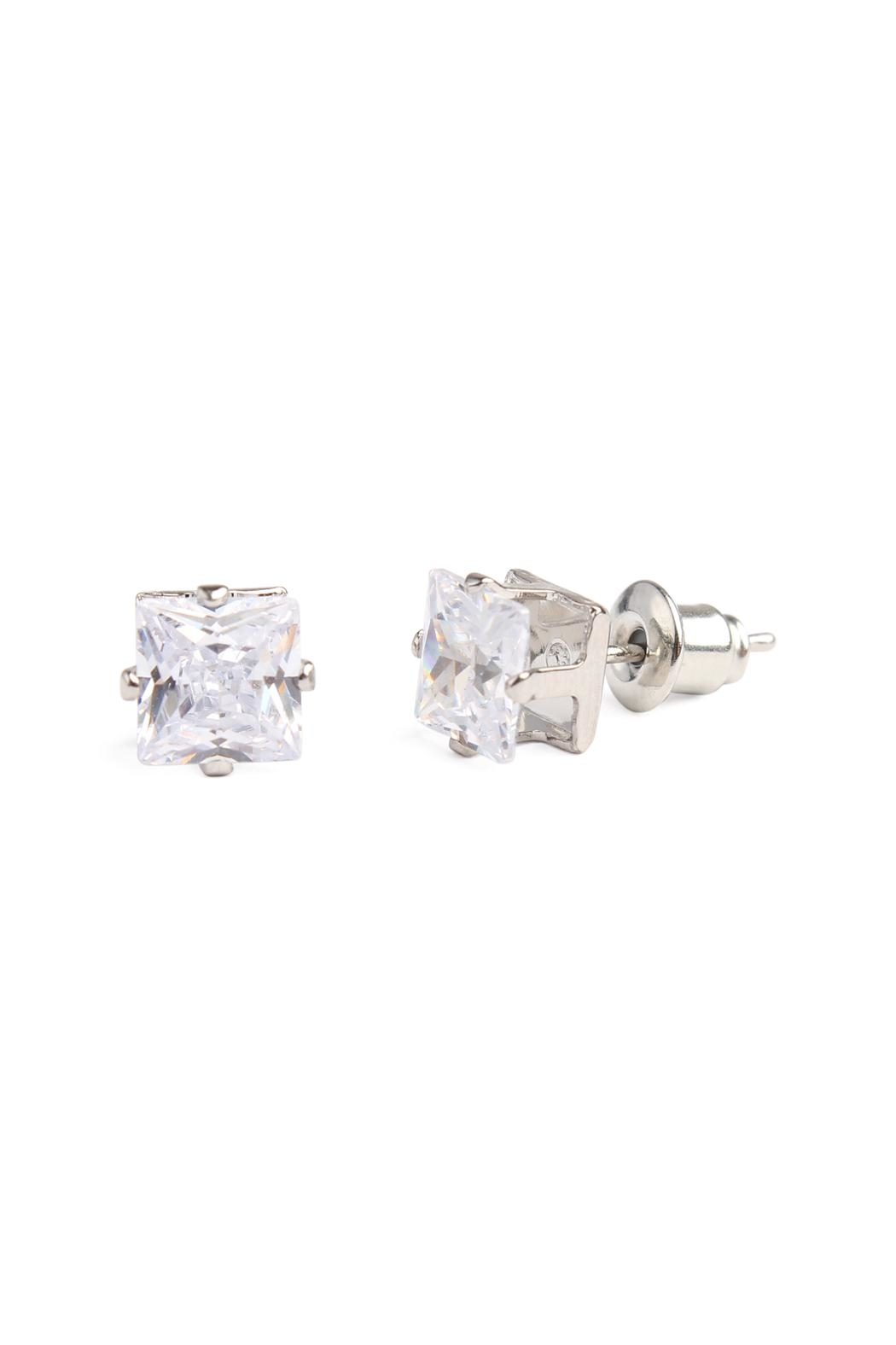 Riah Fashion Cubic Zirconia Stud-Earrings - Front Cropped Image