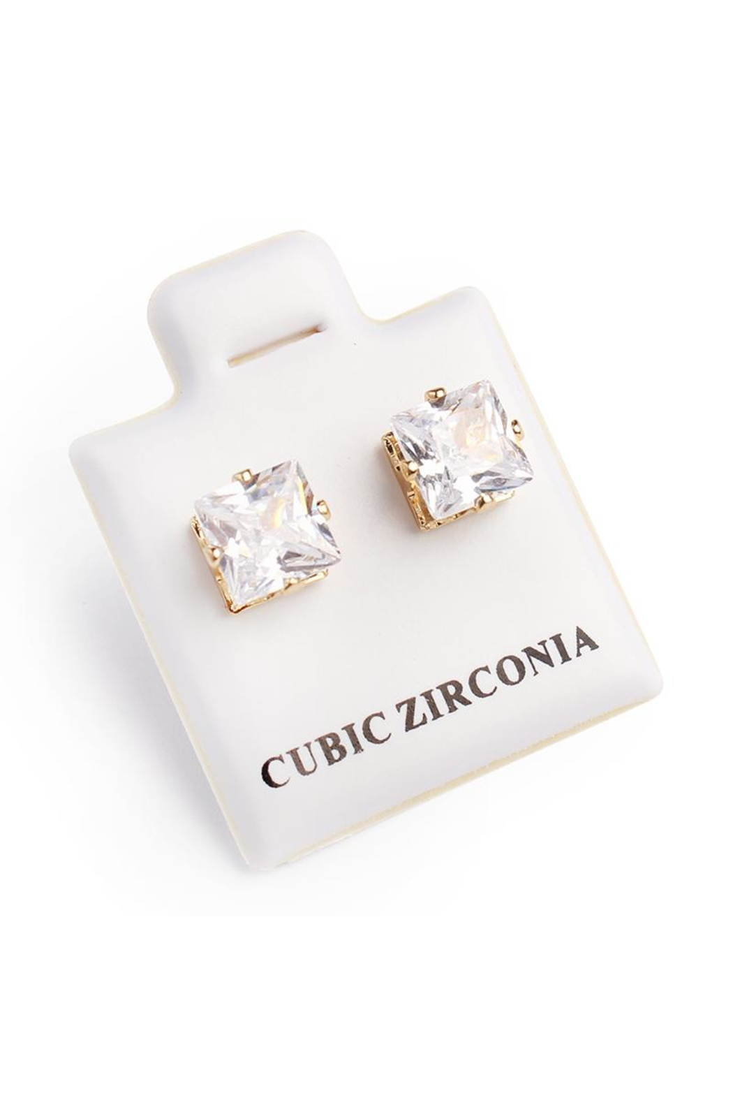 Riah Fashion Cubic Zirconia Stud-Earrings - Front Full Image