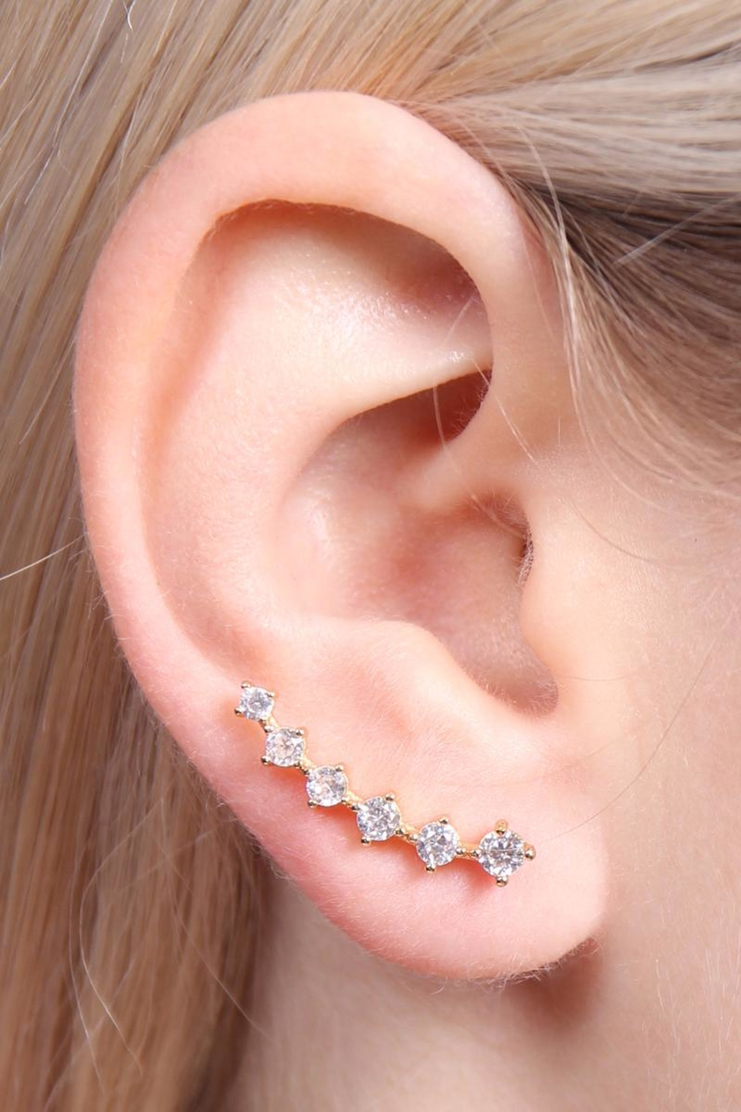Riah Fashion Cushion Crawler Earrings - Side Cropped Image
