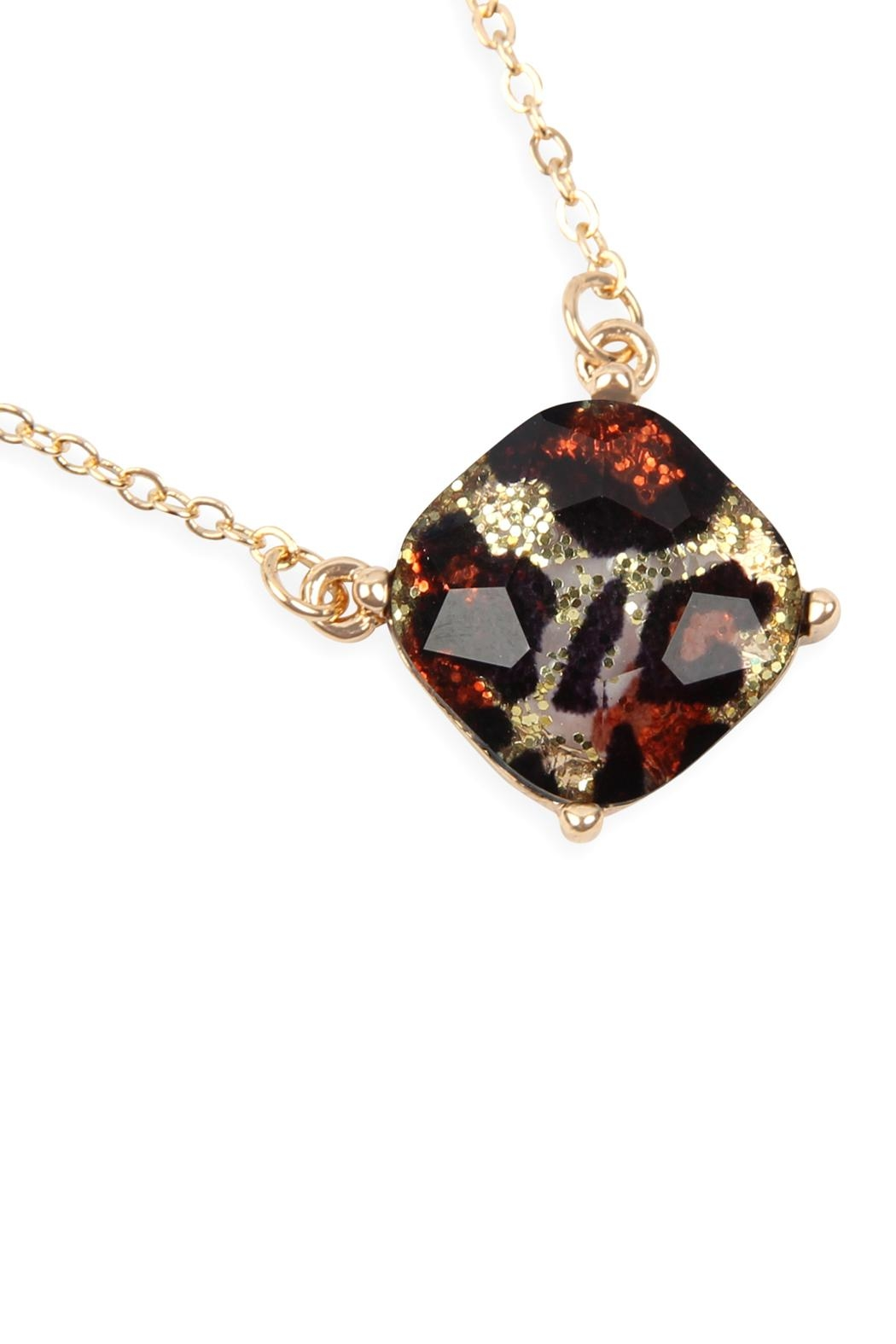 Riah Fashion Cushion Cut Leopard Chain Necklace Set - Front Cropped Image