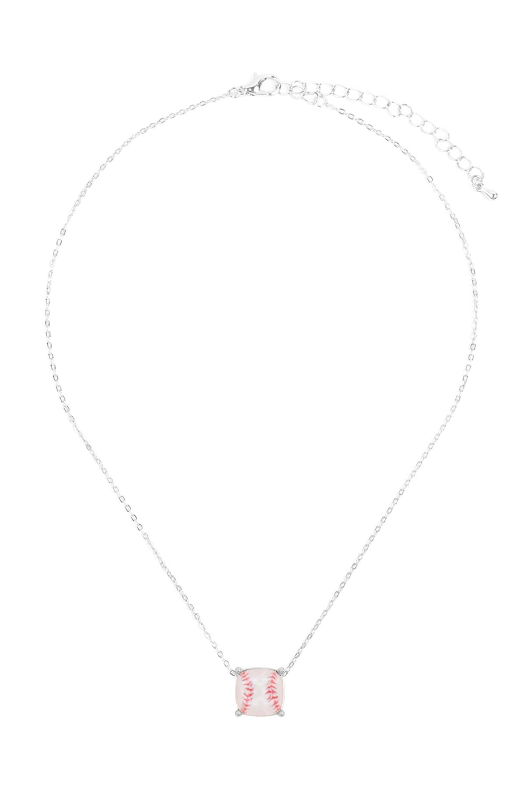 Riah Fashion Cushion-Cut-Softball-Necklace - Front Full Image