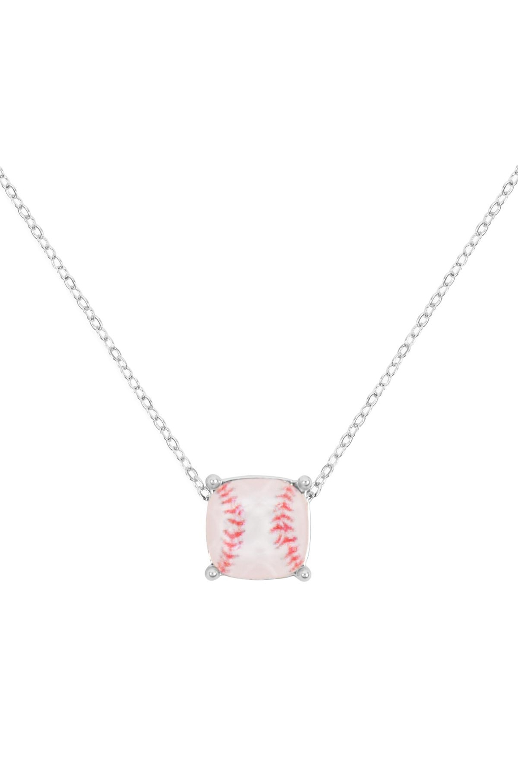 Riah Fashion Cushion-Cut-Softball-Necklace - Front Cropped Image