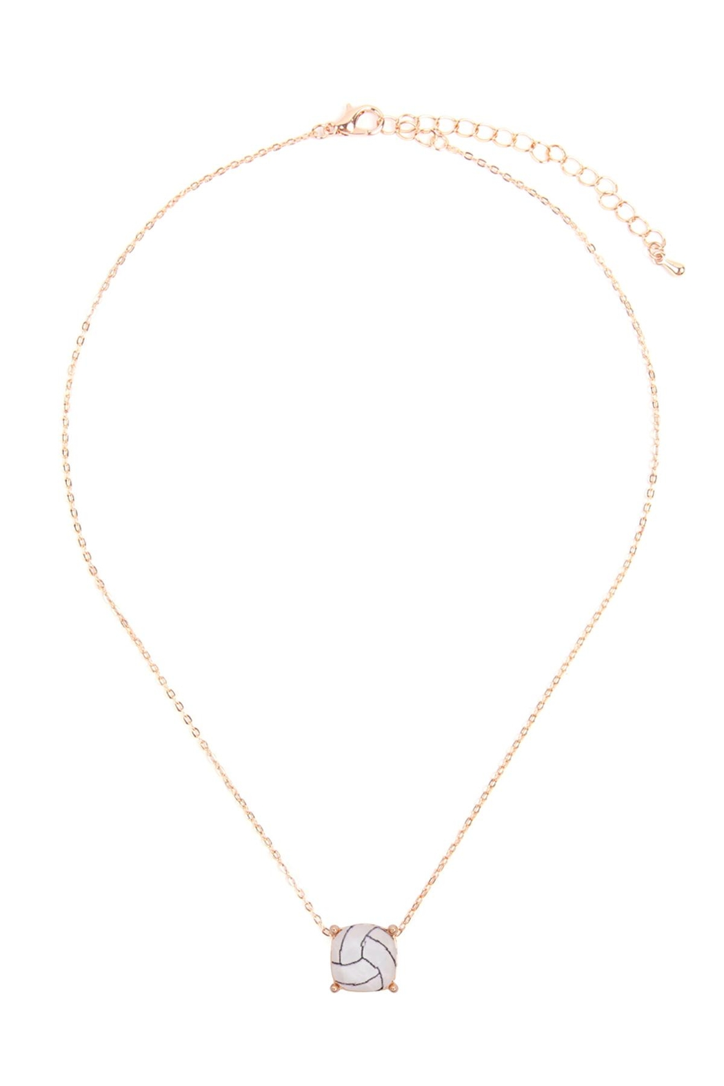 Riah Fashion Cushion-Cut-Volleyball-Necklace - Front Full Image
