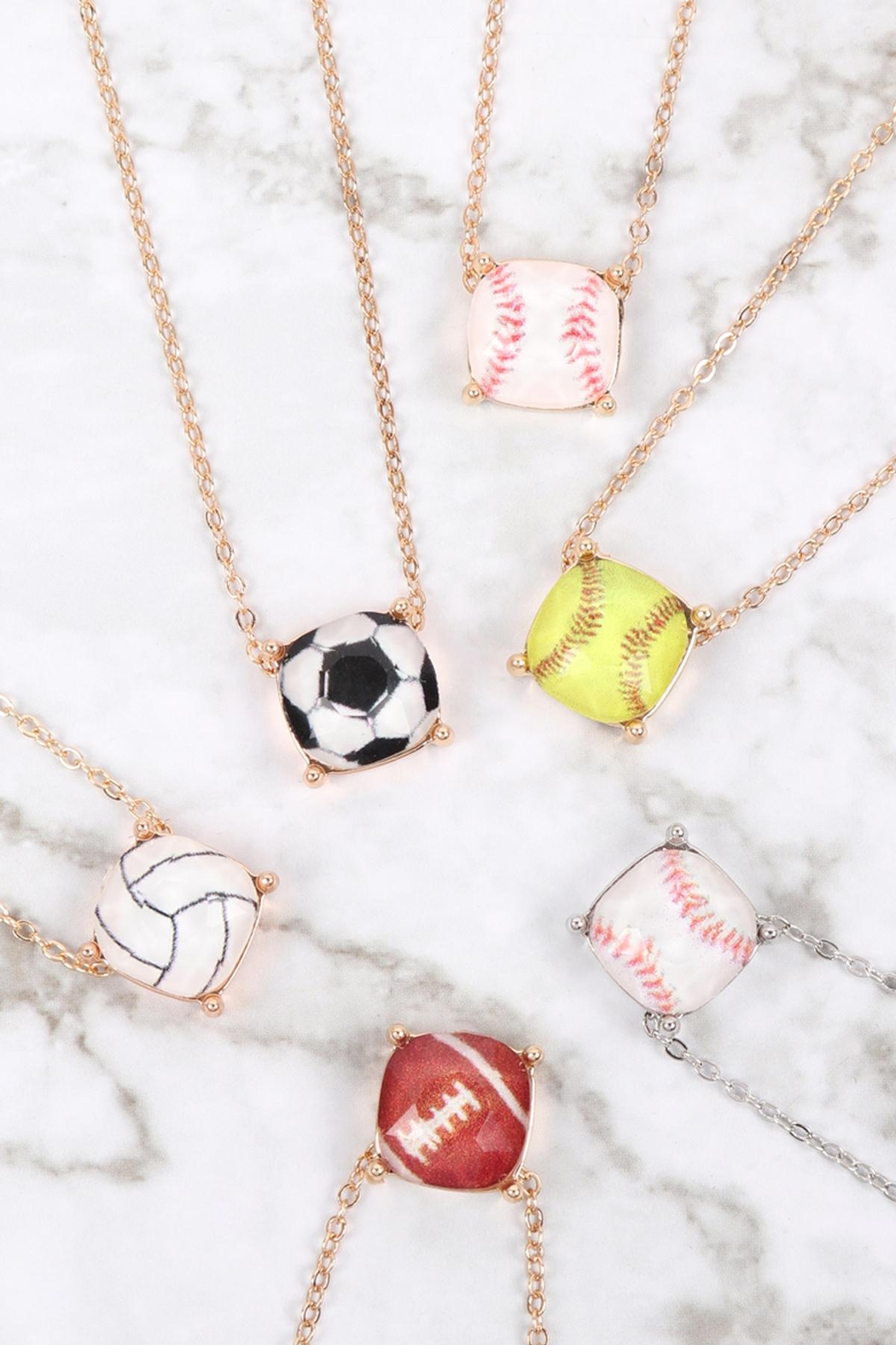 Riah Fashion Cushion-Cut-Volleyball-Necklace - Side Cropped Image