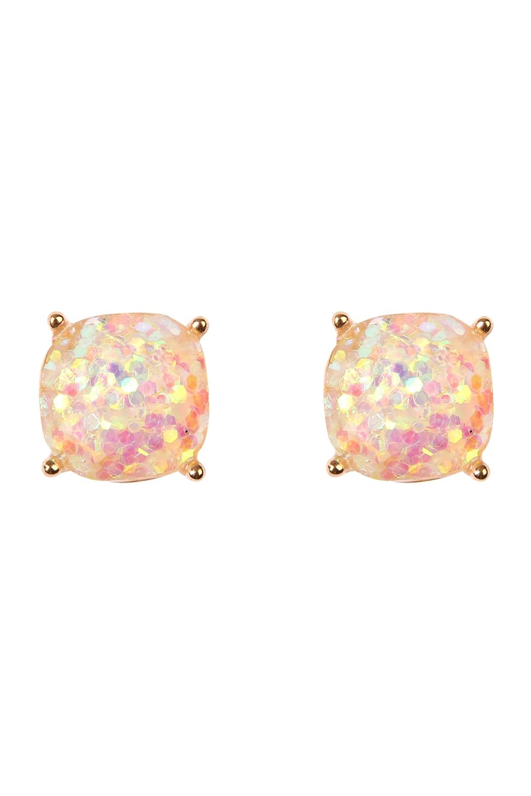 Riah Fashion Cushion Glitter Earrings - Front Cropped Image